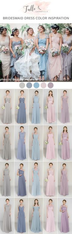 mismatched shades of blue pink and lavender bridesmaid dresses