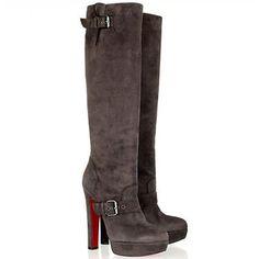 $2K Christian Louboutin Suede Harletty platform buckle Knee High Boots heel WOW
