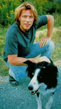 "Jon Bon Jovi & man's best friend for ""Moonlight and Valentino"" movie, Jon Bon Jovi, Mans Best Friend, Best Friends, Emilio Estevez, Shaggy Long Hair, Kid Rock, Good Smile, Romantic Movies, Dream Guy"
