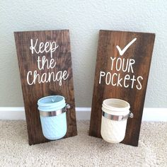 Laundry Room Sign,Laundry Room Decor,Keep the Change,Check your Pockets,Mason… Rustic Laundry Rooms, Laundry Room Signs, Laundry Room Organization, Laundry In Bathroom, Laundry Decor, Rustic Bedrooms, Laundry Storage, Mason Jar Crafts, Mason Jars