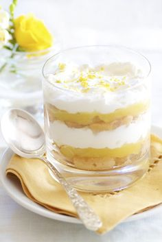 Lemon Trifle ....ladyfingers, dessert wine or lemonade, heavy cream, powdered sugar, lemon curd & rind