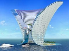 Apeiron Hotel, Dubai. This new mega structure will be built on a man made island 300-500 meters off shore. It will be accessible by boat or helicopter for a more extravagant entrance.