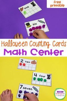 FREE Halloween Counting Cards - The Kindergarten Connection Halloween Activities, Halloween Fun, Kindergarten Activities, Learning Activities, Free Printables, Student Crafts, Math Manipulatives, Number Words, Counting