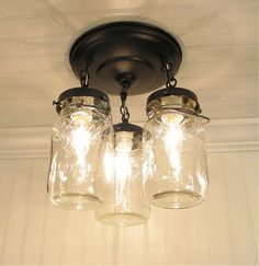 Mason Jar LIGHT FIXTURE Vintage Quart Trio - Mason Jar Light Fixture - The Lamp Goods - 5