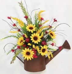 Sunflower Door Decor Watering Can Wreath Summer Wreath Sunflower Floral Arrangements, Silk Flower Arrangements, Arte Floral, Summer Wreath, Summer Flowers, Ikebana, Silk Flowers, Fall Decor, Beautiful Flowers