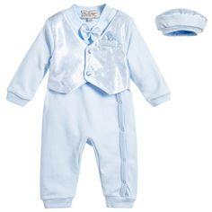 Couche Tot Boys Sky Blue Waistcoat Babysuit & Hat Set at Childrensalon.com