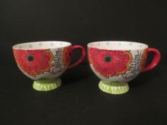Artistic Accents Dutch Wax French Nouveau Print Mugs Cup s 2 Hand Painted New   eBay