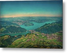This is the view from top of Stanserhorn in Central Switzerland   Lake Lucerne with Horw and Lucerne in the Middle as well the lakes Alpnach (left),and Kuessnacht (right), which are both arms of Lake Lucerne !  -  Photo by Hanny Heim, Snowbird Photography  #switzerland   #schweiz   #photography   #lakes   #view   #mountains   #stanserhorn   #vierwaldstättersee