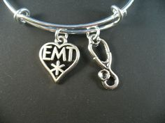 EMT and Stethescope Silver Bangle Bracelet Alex by DesignsBySuzze, $15.50