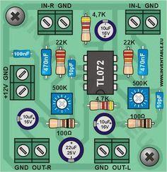 Vista pictórica del mini-preamplificador en versión estereo Electronics Projects, Hobby Electronics, Electronics Components, Electronic Circuit Design, Electronic Engineering, Electrical Circuit Diagram, Diy Amplifier, Car Audio Installation, Coding Software