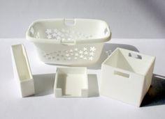 3d printed miniature laundry basket, magazine butler, paper tray, storage bin