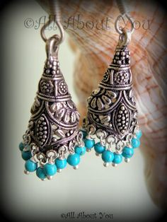 Turquoise delight , An Oxidized Single Layered Jhumkas,German Silver ,White Metal,Chandelier,Indian Jewelry ,Tribal Earrings,Indian jhumki by WildWirecraft on Etsy