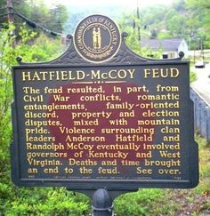 """West Virginia-Kentucky The McCoys, led by Randolph """"Ole Ran'l"""" McCoy (grandson of William), lived mostly on the Kentucky side of Tug Fork . Us History, Family History, Family Feud, History Channel, Family Pics, American Civil War, American History, Hatfield And Mccoy Feud, Hatfields And Mccoys"""