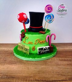 Gâteau charlie et la chocolaterie, Willy wonka,golden ticket, cake design