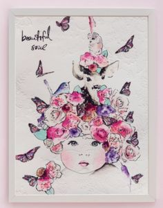 fine art print by One Sonny Day. Australian kids and children's art. Soft pink flower crown, lilac floral headdress, purple peach pink flowers, butterflies, baby, baby art, delicate antique lace embossing. Perfect for wall art, little girls boys bedroom deco, children kids gifts, christening, baby shower, christmas present.