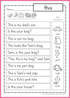 Worksheets Kindergarten Reading Worksheets Sight Words sight word sentences fluency reading homework pre primer these sentencessimple sentencessight worksheetskindergarten readingprimershomeworkschool