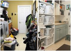 THIS is an amazing transformation! I wish I could do this in our garage, might have to see what I can do.  Laundry Room Before and After