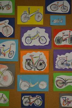 Mijn fiets. Teken- en kleurpotlood.
