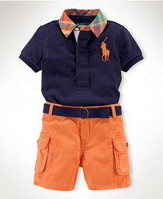 Ralph Lauren Baby Set, Baby Boys Rugby Polo and Cargo Shorts Set - Kids Baby fdc9be71a52