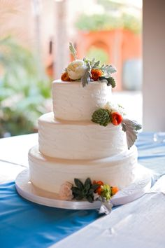 succulent rose wedding cake | orange & teal | Edible Designs by Jessie and The Moss & Rose