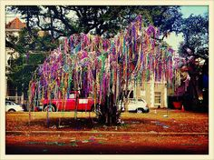 Our beautiful NOLA Mardi Gras bead trees are in full bloom!