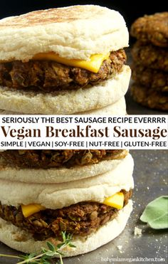 This is seriously the best vegan sausage recipe EVERRRRR. Great on it's own or served on English muffins, now you can enjoy this classic protein-packed breakfast without all the junk. Naturally healthy, cruelty-free, nut-free, and gluten-free. Best Vegan Sausage Recipe, Vegan Breakfast Sausage Recipe, Best Vegan Breakfast, Sausage Breakfast, Healthy Vegetarian Breakfast, Vegan Sausage Patties Recipe, Meatless Sausage Recipe, Vegan Breakfast Muffins, Vegan Gluten Free Breakfast