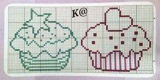 Crochet Motifs, Crochet Cross, Cross Stitch Designs, Cross Stitch Patterns, Cupcake Cross Stitch, Free Cross Stitch Charts, Cross Stitch Kitchen, Alpha Patterns, Cross Stitching