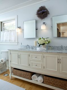 Bathroom Remodel Ideas Cottage beadboard bathroom, white bathroom, double vanity, cottage style