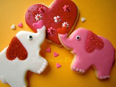 Pachyderm Passion!  Vanilla Glazed Sugar Cookies for Valentine's Day by Robin Traversy {The Cookie Faerie}.
