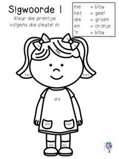 Afrikaanse Sigwoorde Graad 1 Kleur In! Worksheets For Grade 3, Preschool Worksheets, Alphabet Worksheets, Preschool Writing, Preschool Themes, Learning Support, Kids Learning, Afrikaans Language, Teachers Aide