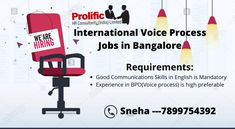 Greeting from Prolific HR consultant.  openings For International Sales process  Minimum one year experience in International Voice Process is highly preferred.... Sales Process, Job Description, The Voice