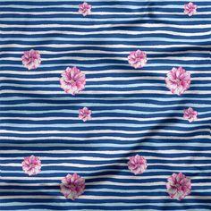 Hummingbird Flower Stripes in Blue Hummingbird Flowers, Knitting Blogs, Fabric Online, Knitted Fabric, Organic Cotton, Stripes, Prints, Pattern, Blue