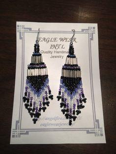 Beaded Earrings, Purple/purple/silver on Etsy, $7.11