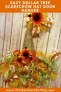 Dollar Tree Scarecrow Hat Door Hanger Make this easy scarecrow hat door hanger with my tutorial and items from the Dollar Tree! Fall Mesh Wreaths, Fall Deco Mesh, Diy Fall Wreath, Fall Diy, Halloween Deco Mesh, Deco Wreaths, Winter Wreaths, Floral Wreaths, Spring Wreaths