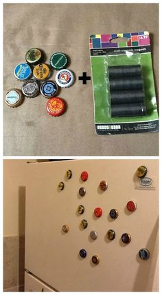Magnets + Beer bottle caps from your travels = 5 cent souvenir!! Love this idea!