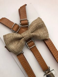 Vintage inch Tan leather suspenders and bow tie set. Size years old suspenders are Bow tie measures 3 neck strap is 14 long. Size old suspenders are 33 long. Bow tie measures neck strap is 15 long. Size years old suspenders are 37 long. Rustic Groomsmen Attire, Burlap Bows, Burlap Fabric, Wedding Order, Wedding Fun, Wedding Dreams, Fall Wedding, Wedding Flowers, Groomsmen