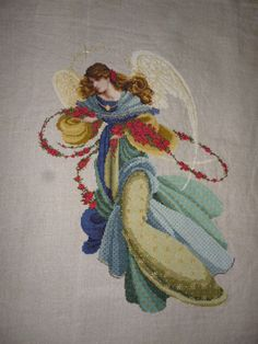 Completed Cross Stitch Angel  Angelica by louannsboutique on Etsy, $250.00