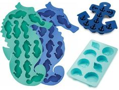 Fabulous coastal, beach and nautical theme ice cube trays: http://www.completely-coastal.com/2016/05/coastal-nautical-kitchen-gadgets.html They shape ice into seahorses, anchors and shells!! http://amzn.to/2tmP4iT