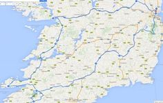 Map of Ireland - our road trip route