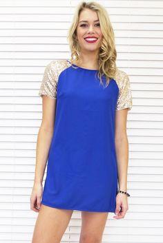 Cobalt Gold Sequin Dress