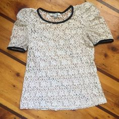 Black Lined Cream Lace Top Sheer lace with ruched sleeves. Super cute, it just doesn't fit anymore. Forever 21 Tops