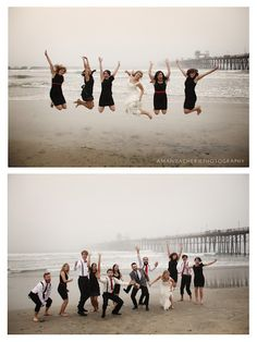 bridal party jumping on the beach.    [amanda cherie photo]