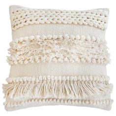 Pom Pom at Home Iman Pillow, Ivory is part of Home Accents DIY Throw Pillows - Create a cozy, ontrend look with this handwoven pillow, featuring braided, knotted and fringe textures for a bohemianchic vibe we're obsessed with Boho Pillows, Decor Pillows, Decorative Throw Pillows, Colorful Throw Pillows, Diy Throw Pillows, Burlap Pillows, Handmade Pillows, Handmade Home Decor, Cheap Home Decor