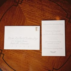 Stationery, A Good Word; Calligraphy, Laura Daniel; Photo: Clark Brewer - Tennessee Wedding http://caratsandcake.com/CatherineandHunter