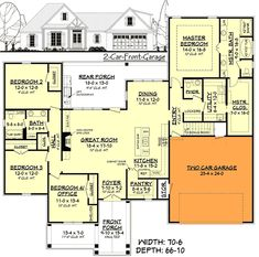 4 Bedroom Country House Plans Inspirational 4 Bed southern French Country House Plan with 2 Car Garage French Country House Plans, Southern House Plans, French Country Bedrooms, Modern Farmhouse Plans, Ranch House Plans, Cottage House Plans, Bedroom House Plans, Craftsman House Plans, New House Plans