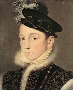 Carlo IX di Francia. 1561. Olio su tavola. 25x21 cm. KHM Wien. Figlio  di Enrico II di Francia e di Caterina de' Medici. Successore del fratello Francesco II di Francia. Predecessore di Enrico III.