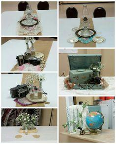 Decorations for ladies. Breakfast. Legacy vintage flowers mason jars cameras