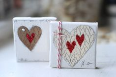 Wee Knitting Love Stamped Mini Canvases Tutorial :: by Becky Shander - Gallery Love Canvas, Mini Canvas Art, Diy Canvas, Mixed Media Canvas, Altered Canvas, Altered Art, Knitting Blogs, Knitting Stitches, Love Stamps