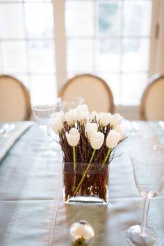 natural branch simple wedding winter centerpieces