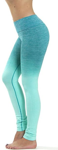Prolific Health Fitness Power Flex Yoga Pants Leggings - All Colors - XS - XL (Medium , Ombre AQUA)